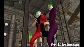 3D cartoon Harley Quinn getting her pussy toyed