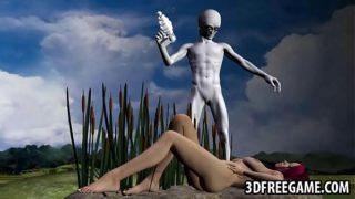 3D redhead babe sucking on an aliens hard cock