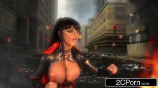 Big Tit Superheroine Wife Kerry Louise Sucks Husband's Cock