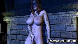 Busty 3D redhead babe fingers and toys her pussy