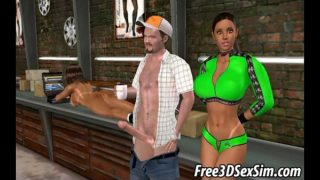 Foxy 3D babe getting fucked in a mechanics garage