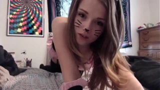 Horny teen as cat masturbating – www.thesluttycams.com