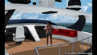 Hot 3D babe fucked hard by an ebony stud on a boat
