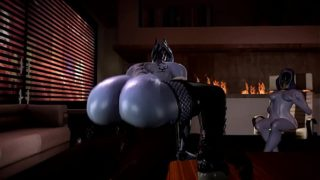 Liara T'Soni Rides a Big Black Cock while the others watch